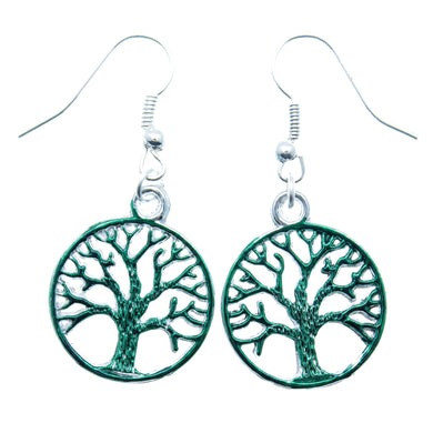 AVBeads Jewelry Charm Earrings Dangle Silver Hook Tree of Life Green
