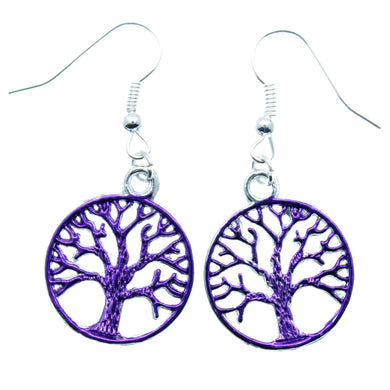 AVBeads Jewelry Charm Earrings Dangle Silver Hook Tree of Life Purple