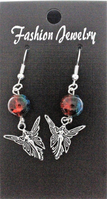 AVBeads Jewelry Charm Earrings Dangle Silver Hook Beaded Blue Orange Fairy Queen