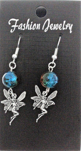 AVBeads Jewelry Charm Earrings Dangle Silver Hook Beaded Blue Orange Fairy Nymph
