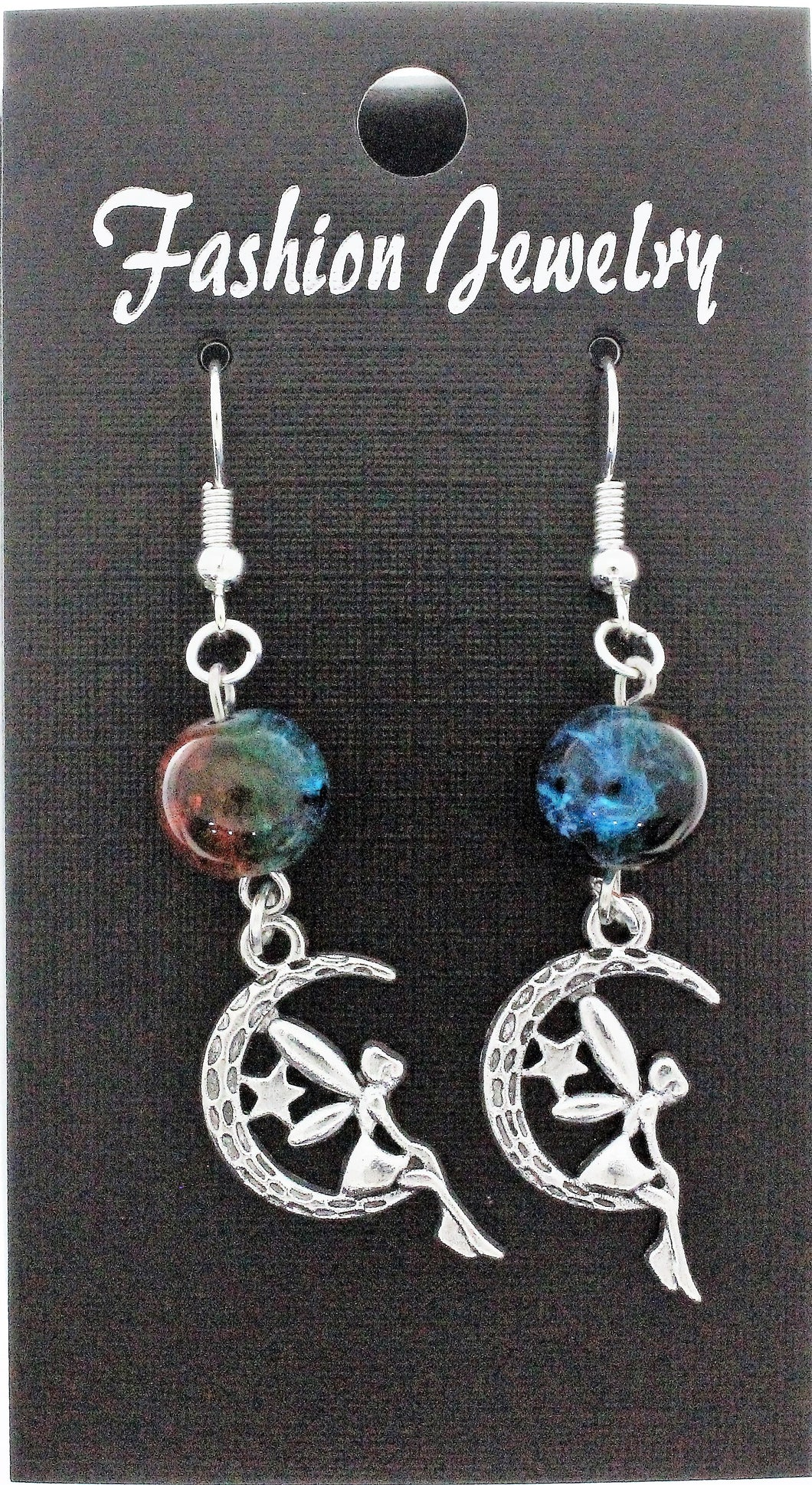 AVBeads Jewelry Charm Earrings Dangle Silver Hook Beaded Blue Orange Fairy Moon