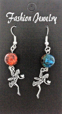 AVBeads Jewelry Charm Earrings Dangle Silver Hook Beaded Blue Orange Fairy Gift