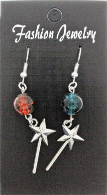 AVBeads Jewelry Charm Earrings Dangle Silver Hook Beaded Blue Orange Fairy Wand