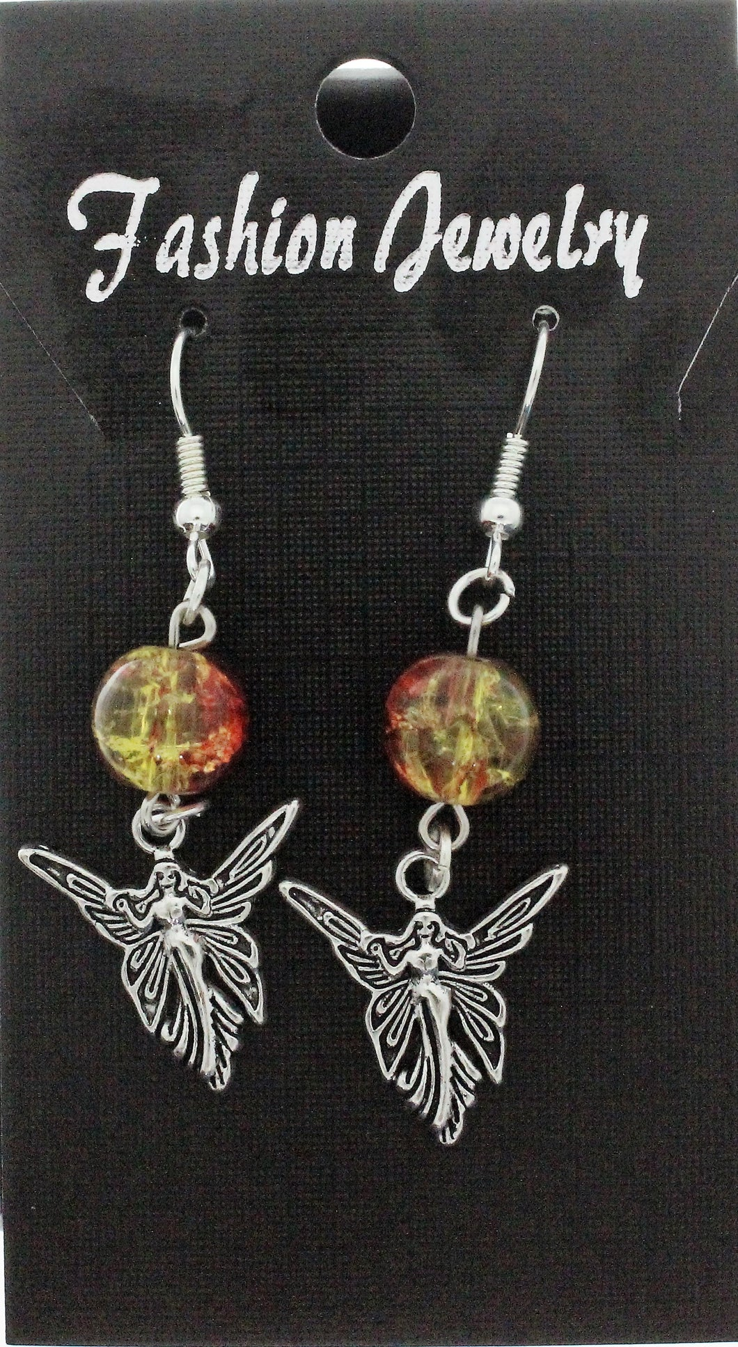 AVBeads Jewelry Charm Earrings Dangle Silver Hook Beaded Red Yellow Fairy Queen