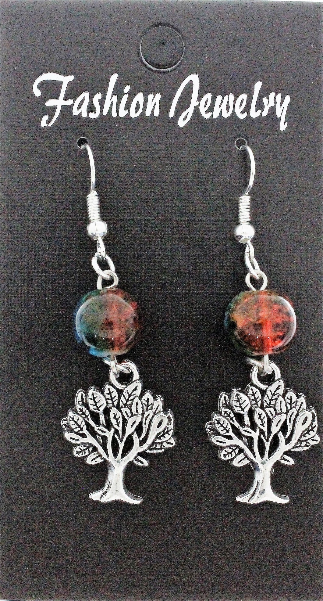 AVBeads Jewelry Charm Earrings Dangle Silver Hook Beaded Blue Orange Tree