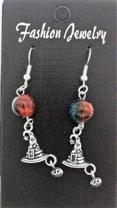 AVBeads Jewelry Charm Earrings Dangle Silver Hook Beaded Blue Orange Witch Hat