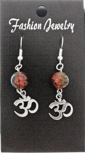AVBeads Jewelry Charm Earrings Dangle Silver Hook Beaded Blue Orange Om Aum