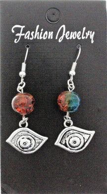 AVBeads Jewelry Charm Earrings Dangle Silver Hook Beaded Blue Orange Eye