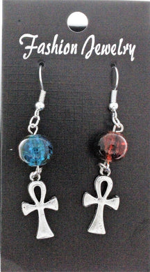 AVBeads Jewelry Charm Earrings Dangle Silver Hook Beaded Blue Orange Ankh