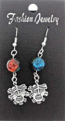 AVBeads Jewelry Charm Earrings Dangle Silver Hook Beaded Blue Orange Greenman
