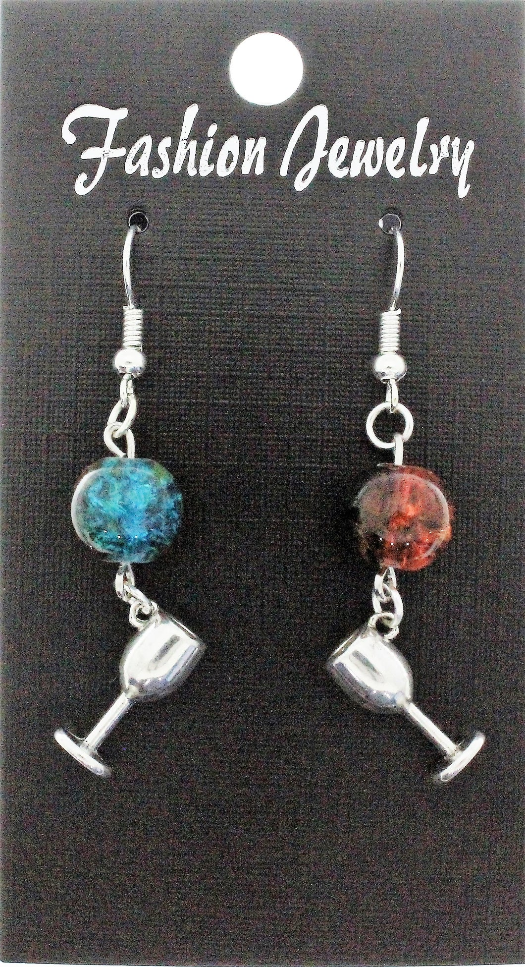 AVBeads Jewelry Charm Earrings Dangle Silver Hook Beaded Blue Orange Goblet