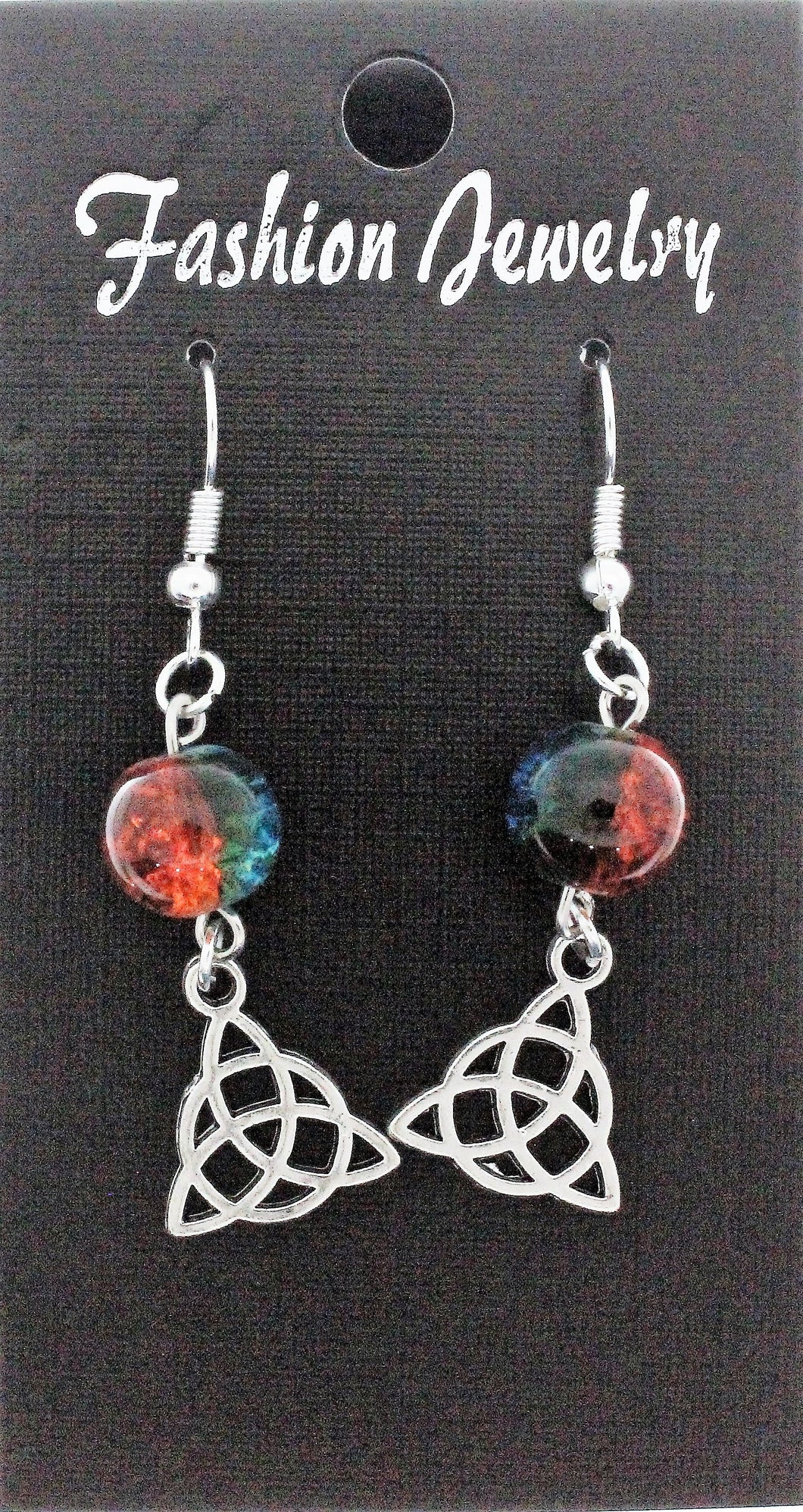 AVBeads Jewelry Charm Earrings Dangle Silver Hook Beaded Blue Orange Triquetra