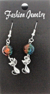 AVBeads Jewelry Charm Earrings Dangle Silver Hook Beaded Blue Orange Cat