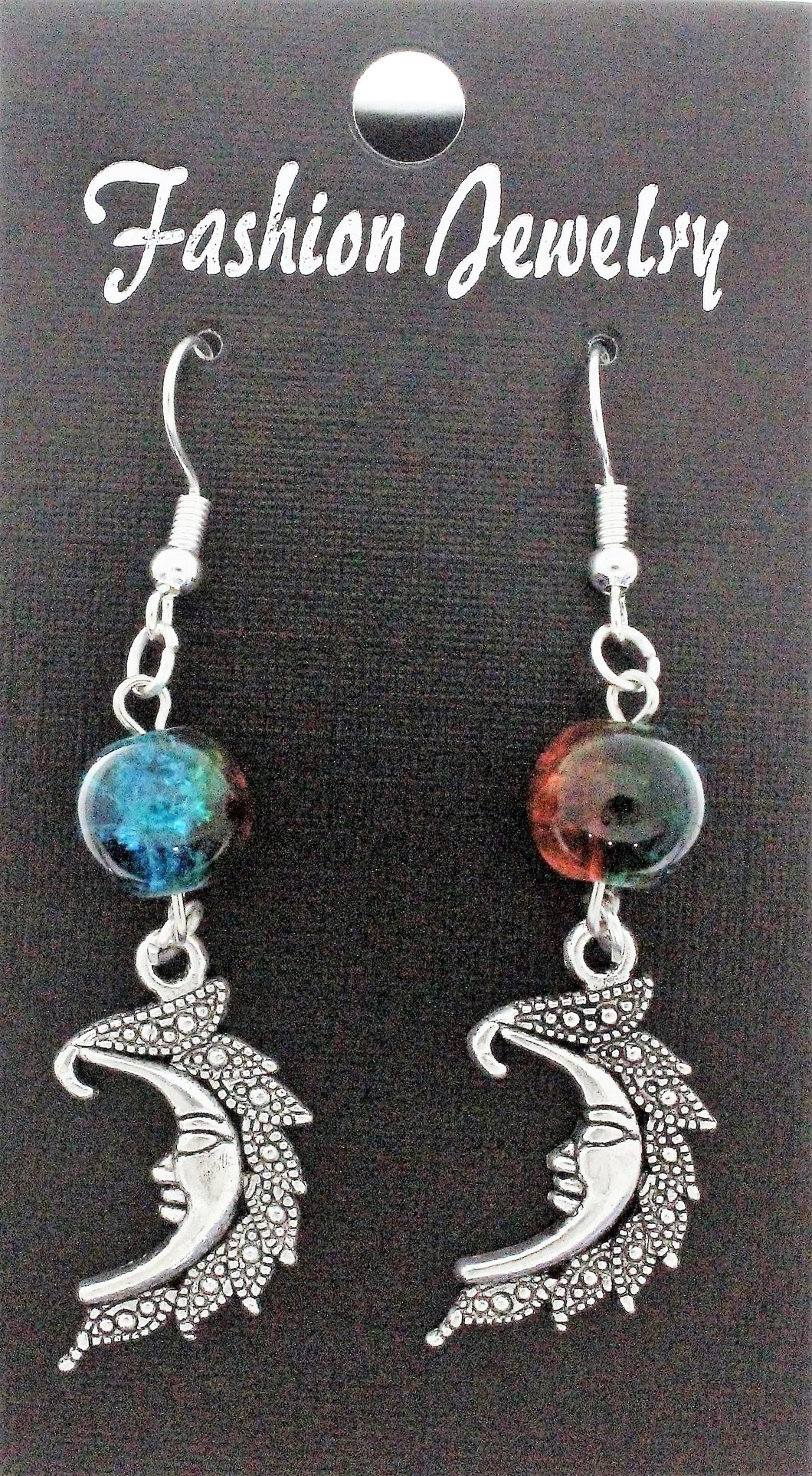 AVBeads Jewelry Charm Earrings Dangle Silver Hook Beaded Blue Orange Moon