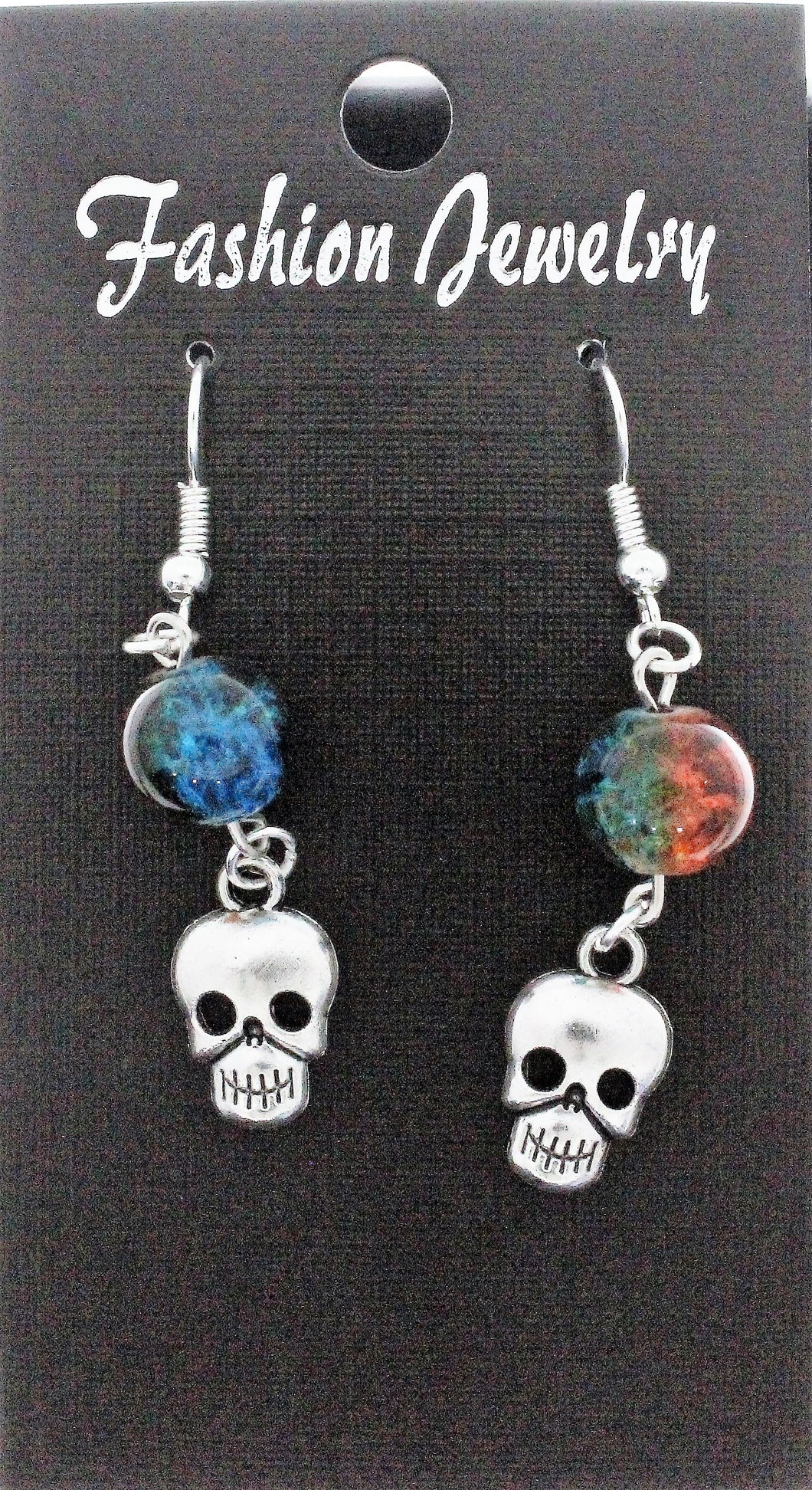 AVBeads Jewelry Charm Earrings Dangle Silver Hook Beaded Blue Orange Skull