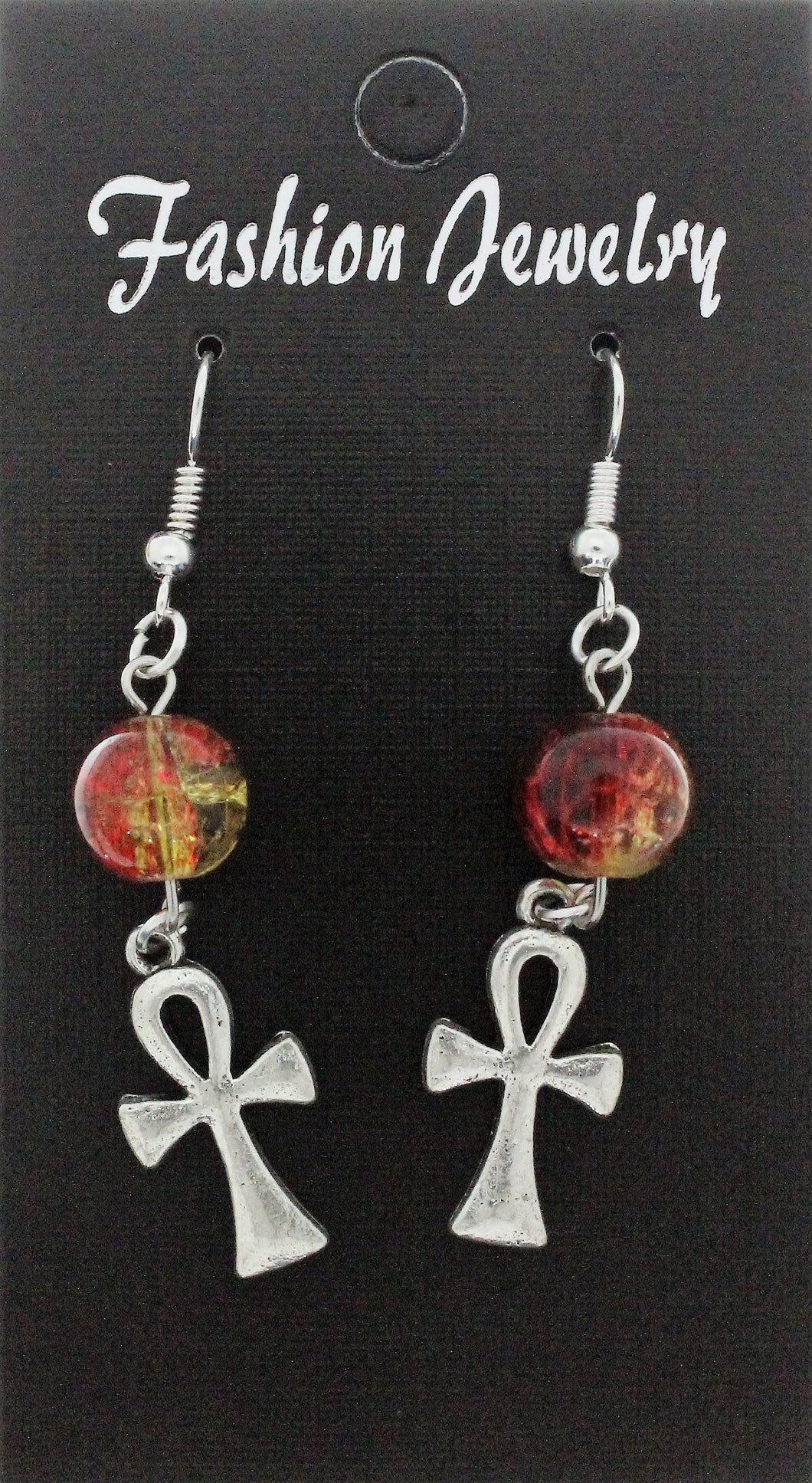 AVBeads Jewelry Charm Earrings Dangle Silver Hook Beaded Red Yellow Ankh