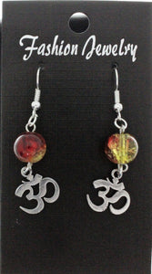 AVBeads Jewelry Charm Earrings Dangle Silver Hook Beaded Red Yellow Om Aum