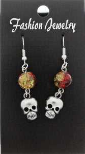 AVBeads Jewelry Charm Earrings Dangle Silver Hook Beaded Red Yellow Skull