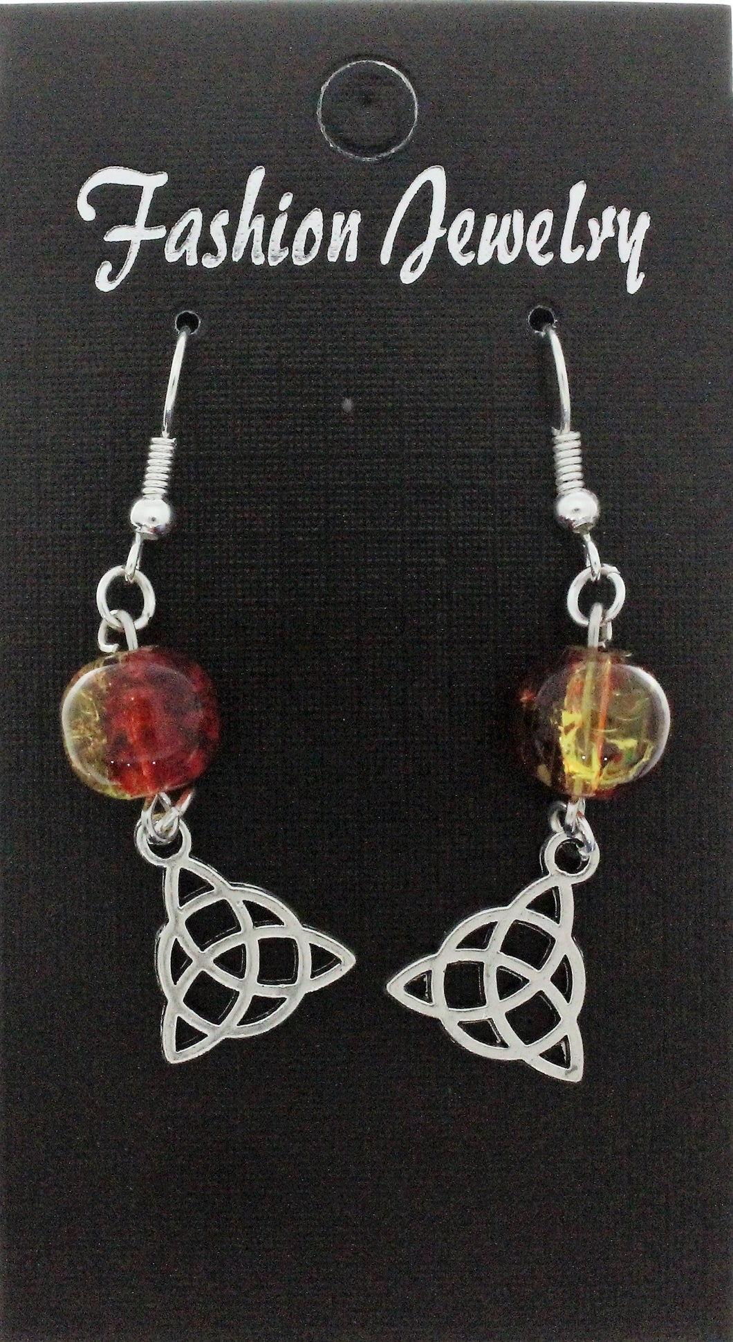 AVBeads Jewelry Charm Earrings Dangle Silver Hook Beaded Red Yellow Triquetra