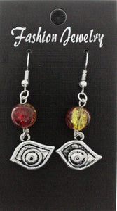 AVBeads Jewelry Charm Earrings Dangle Silver Hook Beaded Red Yellow Eye