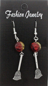 AVBeads Jewelry Charm Earrings Dangle Silver Hook Beaded Red Yellow Broom