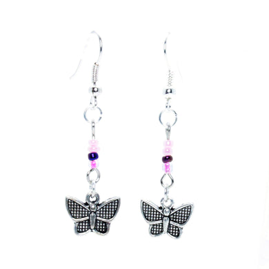 AVBeads Jewelry Charm Earrings Dangle Silver Hook Beaded Pink Butterfly