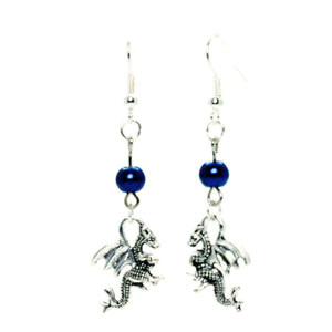 AVBeads Jewelry Charm Earrings Dangle Silver Hook Beaded Blue Dragon