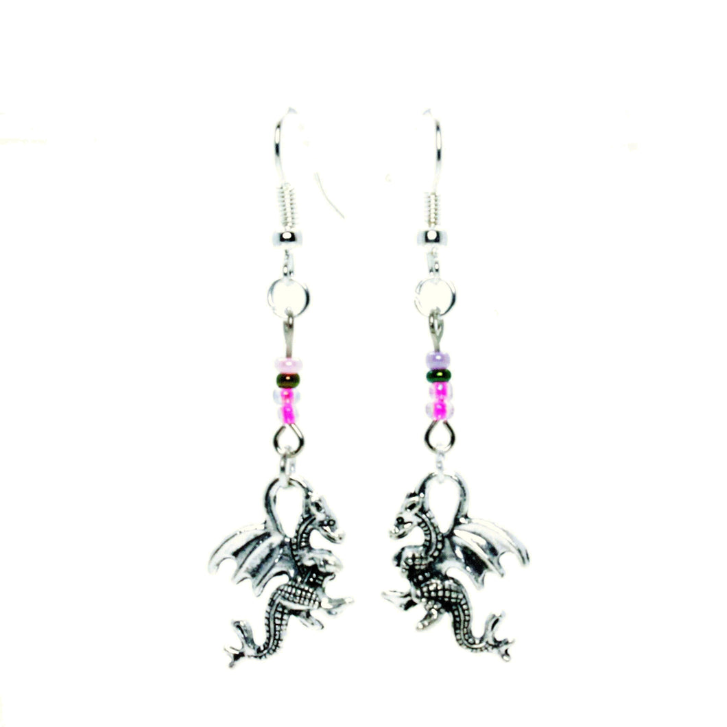 AVBeads Jewelry Charm Earrings Dangle Silver Hook Beaded Pink Dragon