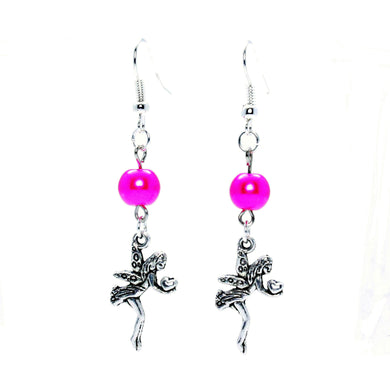 AVBeads Jewelry Charm Earrings Dangle Silver Hook Beaded Fuschia Fairy Gift