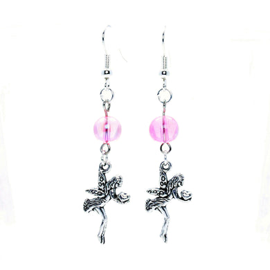 AVBeads Jewelry Charm Earrings Dangle Silver Hook Beaded Pink AB Fairy Gift