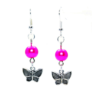 AVBeads Jewelry Charm Earrings Dangle Silver Hook Beaded Fuschia Butterfly
