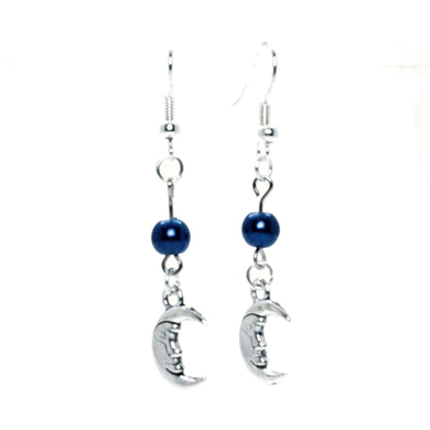 AVBeads Jewelry Charm Earrings Dangle Silver Hook Beaded Blue Moon