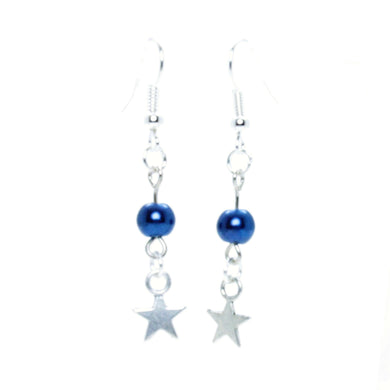 AVBeads Jewelry Charm Earrings Dangle Silver Hook Beaded Blue Star