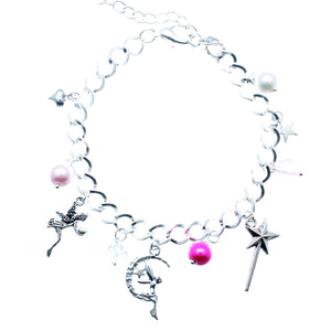 AVBeads Jewelry Fairy Charm Bracelet Silver Plated Chain Pink Glass Beads Metal Charms 10 inch