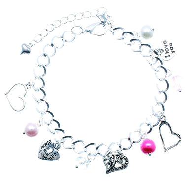 AVBeads Jewelry Hearts Charm Bracelet Silver Plated Chain Pink Glass Beads Metal Charms 10 inch