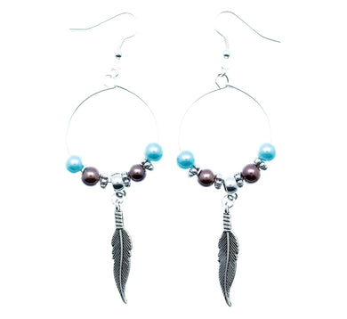 AVBeads Jewelry Hoop Earrings Dangle Silver Plated Hook Beaded Blue Brown with Feather Charms 1003