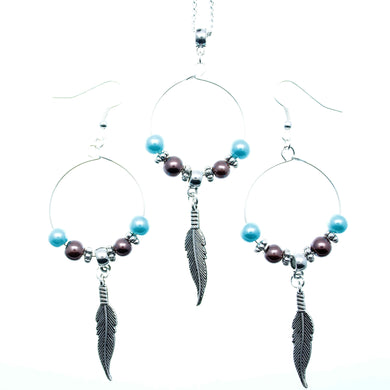 AVBeads Jewelry Set Beaded Hoop Pendants with Feather Charms Blue Brown Silver 1010
