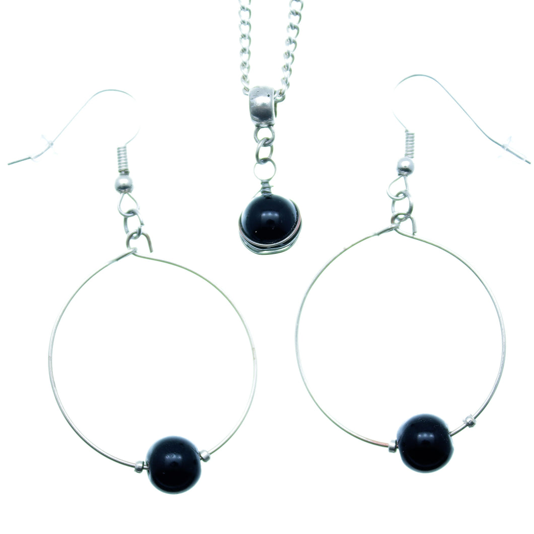 AVBeads Jewelry Set Beaded Silver Plated Hoop Earrings and Necklace with Black Beads 1002