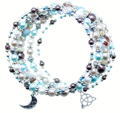 AVBeads Memory Wire Bracelet Beaded 5-Layer Wrap with Charms Moon Triquetra