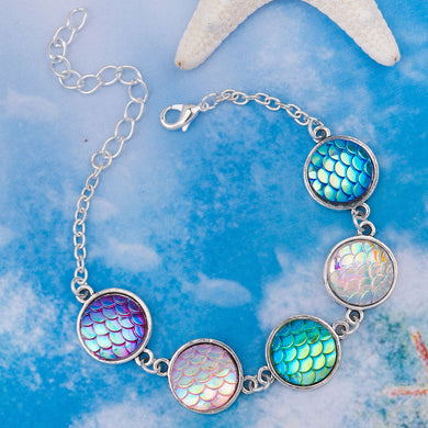Resin Mermaid / Dragon Scale Bracelets Antique Silver & Silver Plated AB Color Round 6 3/4