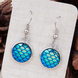 "Resin Mermaid Dragon Scale Earrings Silver Tone Blue AB Color Round 1 3/8"" x 5/8"", Wire Size: 21 gauge"