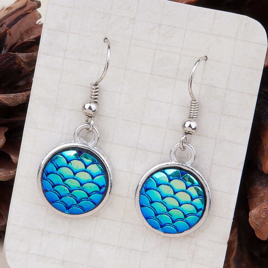 Resin Mermaid Dragon Scale Earrings Silver Tone Blue AB Color Round 1 3/8