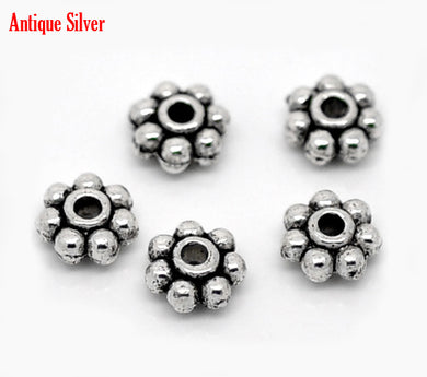 AVBeads Bulk Beads Metal Daisy Spacer 5mm Silver BMB00900 18g (approx 100pcs)