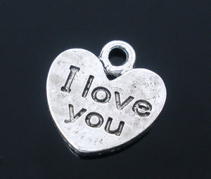 "AVBeads Heart Charms ""I Love You"" Message Charms Silver 12mm x 11mm Metal Charms 10pcs"