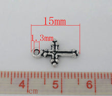 Load image into Gallery viewer, AVBeads Cross Charms Mini Silver 15mm x 9mm Metal Charms 10pcs