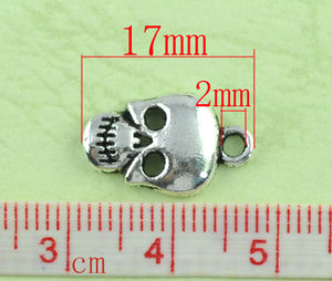 AVBeads Halloween Charms Skull Charms Silver 17mm x 10mm Metal Charms 10pcs