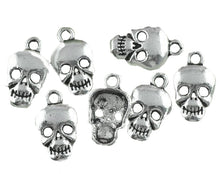 Load image into Gallery viewer, AVBeads Halloween Charms Skull Charms Silver 17mm x 10mm Metal Charms 10pcs