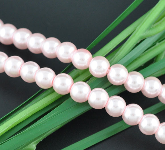 Round Glass Pearl Painted Czech Loose Beads for Jewelry Making 8mm Pink Beads 30pcs