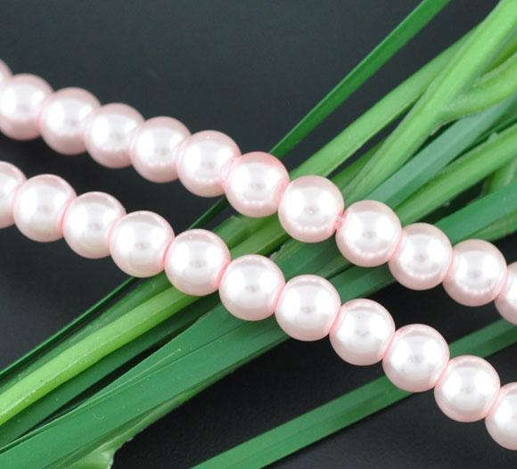 Bulk 840pcs Czech Style Pressed Glass Satin Painted Round Strand Beads Beading Jewelry Making 8mm Pink 15 strands 56pcs per string