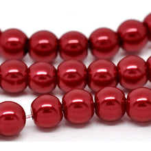 Load image into Gallery viewer, Bulk 1500pcs Czech Style Pressed Glass Satin Painted Round Strand Beads Beading Jewelry Making 6mm Red 20 strands 75pcs per string